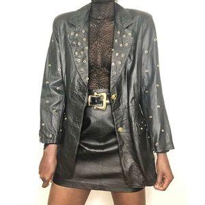 VINTAGE | Leather Blazer Jacket with Gold Grommets